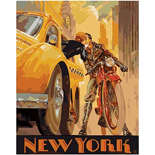 TELEGLO DIY Pintar por Numeros_Conoce el romanticismo en Nueva York_Pint por Número De Kits For Adultos Mayores Avanzada Niños Joven_30x40cm Frameless