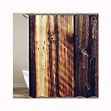 DOLOVE Badewannenvorhang Anti-Schimmel Duschvorhang Polyester Dunkelbraun Holz Tür Lustiger Duschvorhang 3D 150X180 cm