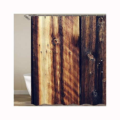 AueDsa Duschvorhang Polyester Duschvorhang Schwer Wasserdicht Dunkelbraun Holz Tür Dunkelbraun Duschvorhang Wasserdicht Anti Schimmel 180x180CM