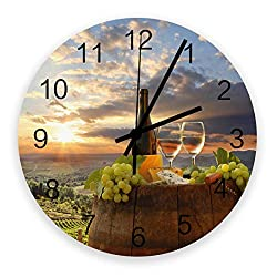 FunDecorArt Large Round Wooden Wall Clocks 12 Inch, Wine Glasses Grapes Sunset Italy Rustic Silent & Non-Ticking Home/Office/Kitchen Decor Wall Clock Wine Barrel Vineyard