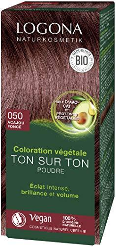LOGONA Cosmétiques naturels Poudre de coloration aux herbes 050 brun acajou, avec huile d'avocat, brun-rouge, végétal et naturel, coloration naturelle des cheveux rouges au henné, coloration, 100g