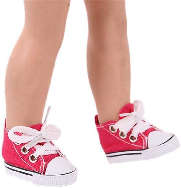 1 paio 5 cm scarpe da bambola con lacci in tinta unita colore arancione per bambole BJD da 32 a 34 cm Aeromdale