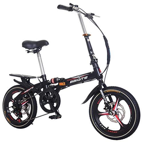 Folding Bike for Adults, 20-inch Wheels 6 Speed City Folding Mini Compact Bike Bicycle Urban Commuter with Back Rack, Mountain Bicycle Urban Commuters for Adult Teens