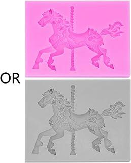 Eliky - Molde de silicona para hornear con forma de caballo y carrusel en 3D,