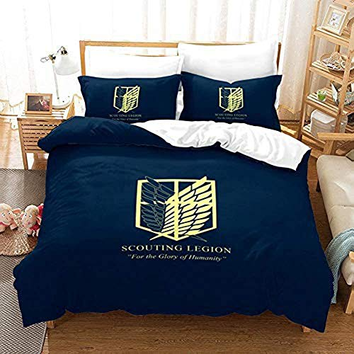 N/W 3 Pieces Attack on Titan Bedding Set Full Anime Survey Corps Eren Mikasa Armin Duvet Cover Set Bed Set,No Comforter Inside,1 Duvet Cover&2 Pillow Cases