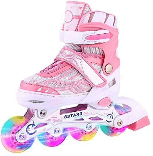 Aceshin Adjustable Inline Skates for Kids with Full Light Up Wheels Illuminating Roller Skates for Boys and Girls (Pink, Large (5-8))