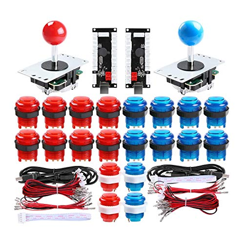 TAPDRA 2 Player led Arcade Buttons and joysticks DIY kit 2x joysticks + 20x led Arcade Buttons Game Controller kit for MAME and Raspberry Pi(Red+Blue)