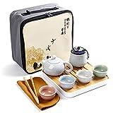Juego de té de 1 olla, 4 tazas, juego de té de viaje portátil, juego de té de cerámica Geyao, juego de té, taza de...