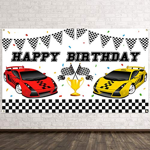 BeYumi Racing Car Themed Happy Birthday Photography Backdrop Banner, Let's Go Racing Party White and Black Check Flag Photo Background Studio Wall Table Decoration Supplies for Kids Boys (6.6 x 3.8Ft)