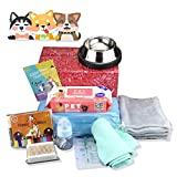 9 in 1 Puppy Complete Whelping Pet Supply Nursing Kit for Newborn Dogs Cats Record Charts 12 Color ID Collars Underpad Coral Fleece Blanket Absorbent Towel Feeding Bottle Bowl Wipes All in One Set