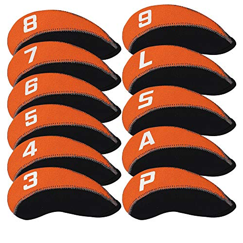 Craftsman Golf 11pcs/Set Neoprene Iron Headcover Set with Large No. for All Brands Titleist,Callaway,Ping,Taylormade,Cobra Etc. (Orange & Black)
