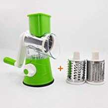 Manual Vegetable Cutter Slicer Kitchen Accessories Multifunctional Round Mandoline Slicer Carrot Potato Cheese Chopper Grater Gadgets,Green