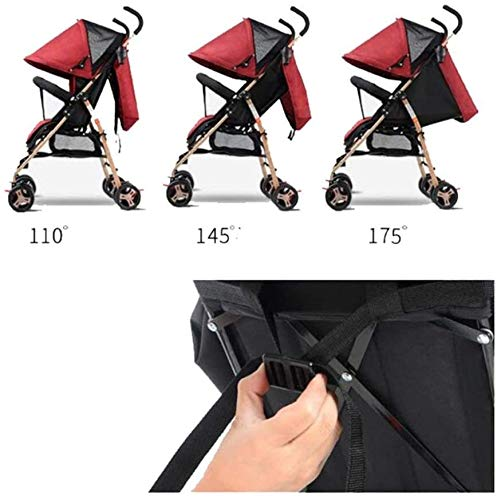 LAMTON Baby Pushchair, Buggy, Pushchairs Trolley Simple Portable Stroller Stroller Lightweight Folding Baby Carriage Baby Four Wheels (Color : Navy Blue) LAMTON The adjustable 5-point safety harness has comfortable shoulder pads, The sturdy frame has a wider seat which results in a more comfortable ride for your child The stroller can be easily folded, smaller and more portable; the adjustable backrest angle can be seated or lying down, as well as a large shopping basket and caster Meet the 0--36 months baby use, the first 6 months is not enough leg strength, lying more comfortable, you can choose to sit after 6 months, helps to exercise your baby's muscles 5