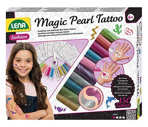 Lena 42442 - Fashion Magische Perlen Tattoo, Bastelset zum Stylen mit Miniperlen in 10 Farben für 150 Tattoos, 200 Schablonen, Mode Set Magic Pearls, abwaschbarer Körperschmuck für Kinder ab 6 Jahren