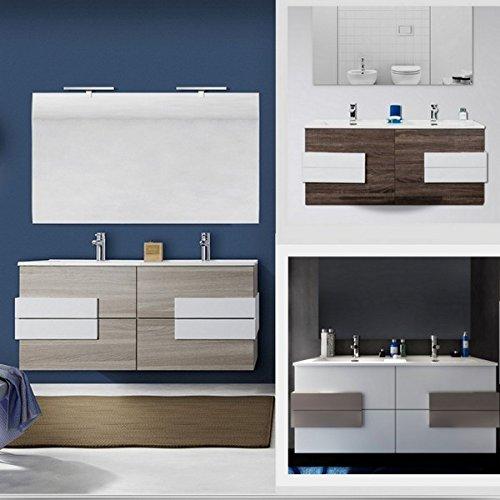 Bagno Italia Mobile arredo Bagno Energy 120 cm Fascia Centrale Doppio lavabo con Specchio Disponibile in 3 Colori I