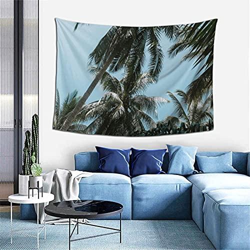 Tapiz para colgar en la pared, diseño de palmeras y hojas tropicales, para dormitorio, decoración psicodélica, 60 x 40 pulgadas