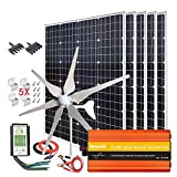 1000W Solar & Wind Power Kits Home Off-Grid System for Charging 12V Battery:400W Wind Turbine Generator + 600W Mono Solar Panel...