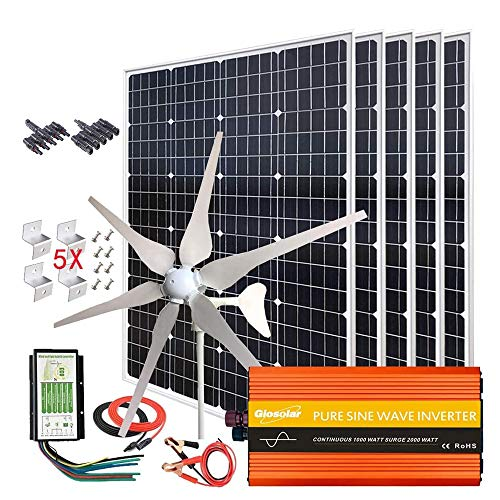 1000W Solar & Wind Power Kits Home Off-Grid System for Charging 12V Battery:400W Wind Turbine Generator + 600W Mono Solar Panel + Hybrid Charge Controller+ 1000W 12V Inverter+Accessory