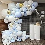 Kit de Arco de Guirnalda de Globos Azul,Globos Azules Blancos, Dorado Globos Papel Picado,Arco de Globos de Metal Macaron Para Baby Shower de Niño,Decoraciones de Primer Cumpleaños Fiesta