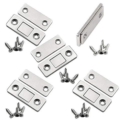 (5個入り)マグネットキャッチ 磁気キャッチラッチ ステンレス鋼製 超薄型 強力 ドア止め金具 家具扉 戸棚 食器棚用の磁気ドアキャッチ
