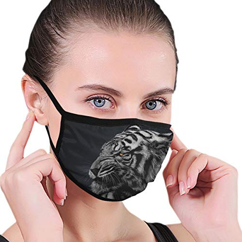 N/A Mond Masker Zwart En Wit Gestreepte Tijger Behang Volwassen Unisex Wasbaar Herbruikbaar Polyester Anti Stof Mond Masker In Packs