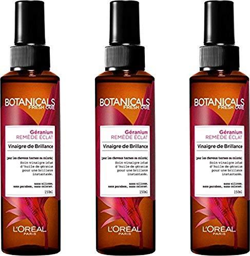 L'Oréal Paris Botanicals Vinaigre de Brillance Remède Eclat sans Rinçage pour Cheveux Ternes/Colorés 150 ml - Lot de 3