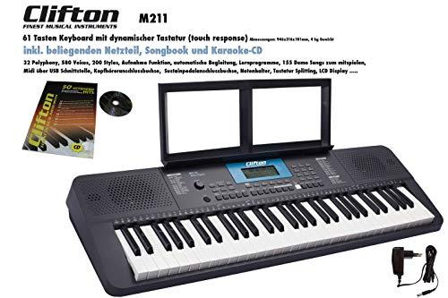 Clifton Keyboard M211 USB MIDI 61 anschlagdynamische Tasten Netzteil Notenbuch mit 110 Seiten und Karaoke CD