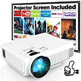 Projector HI-04 7000 Lumens with Projection Screen, 1080P Full HD Supported Mini Outdoor Projector, Portable Video Projector Compatible with TV Stick Smartphone PS4 HDMI USB AV, for Home Theater.