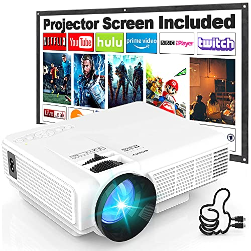 Projector HI-04 7000 Lumens with Projection Screen, 1080P Full HD Supported...