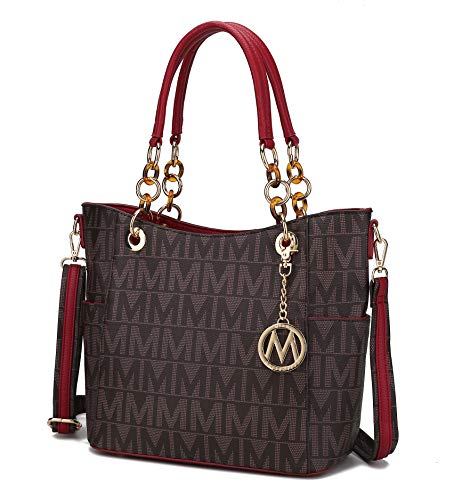Mia K Collection Shoulder Bag for Women, PU Leather Pocketbook Top-Handle Crossbody Purse Tote Satchel Handbag Red