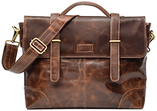 Leabags Liverpool aktetas laptoptas 14 inch lederen tas in vintage look, (l x b x h): ca. 38 x 9 x 29 cm, Crazyvinkat (bruin) - 4250918903818