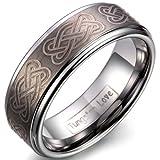 JewelryWe Schmuck 8mm Breite Wolframcarbid Herren-Ring, keltische Knoten Gravur, Partnerringe Trauringe Hochzeitsband Silber Größe 62