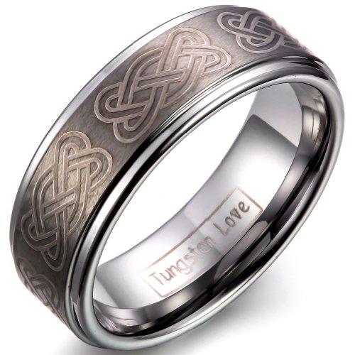 JewelryWe Schmuck 8mm Breite Wolframcarbid Herren-Ring, keltische Knoten Gravur, Partnerringe Trauringe Hochzeitsband Silber Größe 67
