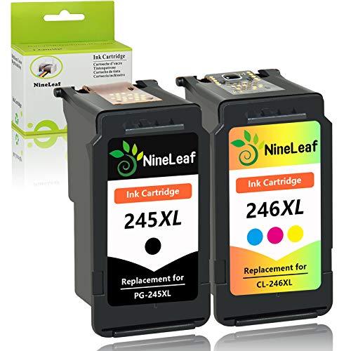 NineLeaf Remanufactured Ink Cartridge Compatible for Canon PG-245XL CL-246XL PG-243 CL-244 PIXMA MG2520 MG2920 MG2922 MG2924 MG2420 MG2522 MG3022 MG2555 MX492 Printer (1 Black 1 Tri-Color,2 Pack)
