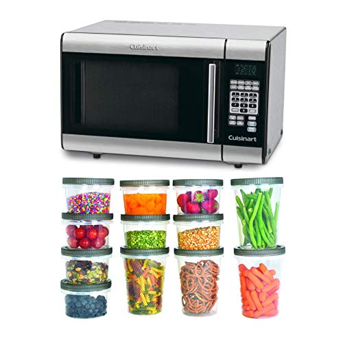 Cuisinart CMW-100 1-Cubic-Foot Stainless Steel Microwave Oven with 25-Piece Set Plastic Storage Containers Bundle (2 Items)