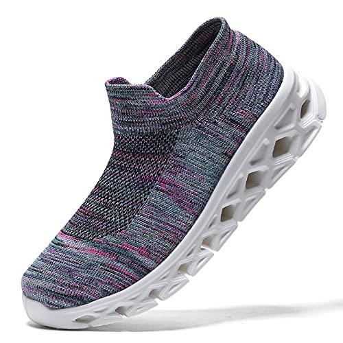 koppu Zapatos para caminar para mujer, sin cordones, con plataforma de cojín de aire, mocasines para damas, niñas, modernos, bailes de jazz, zapatos fáciles, Púrpura 3, 8.5 US