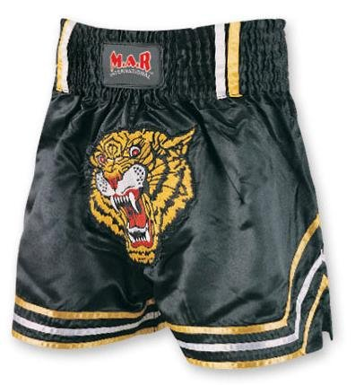 M.A.R International Ltd. Kickboxen & Thaiboxen Shorts Kickboxhose MMA Hosen Boxen Kleidung Muay Thai K1 Gear Polyester Satin Stoff Schwarz L