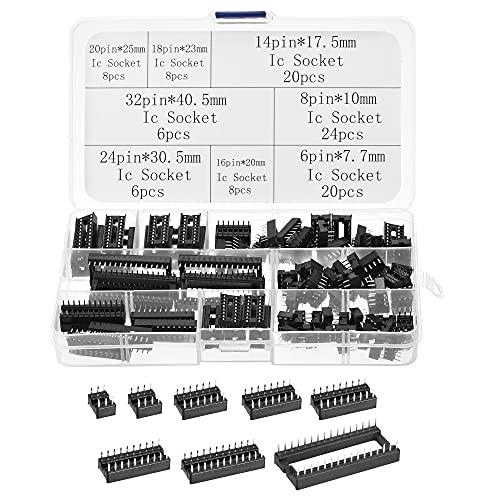 sourcing map Dip IC Chip Enchufe Adaptador 2,54mm Paso Doble Fila Plana Pines Soldadura Chip Conector Conjunto 6,8,14,16,18,20,24,32 Pines Negro