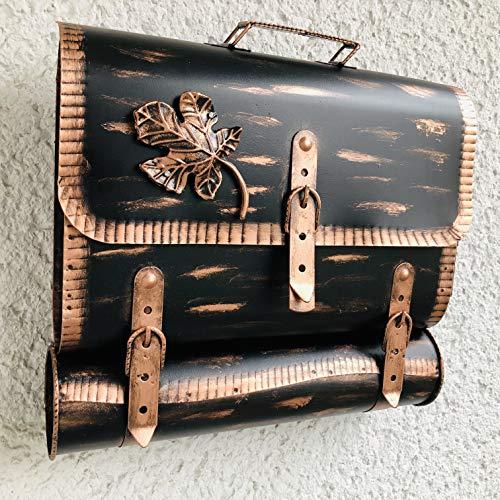 Briefkasten Postkasten Wandbriefkasten Zaunbriefkasten mit Zeitungsrole Zeitungsfach aus rostfrei.Antik Schmiedeeisen Befestigungsmaterial GRATIS! Neue Modell !