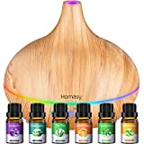 Homasy 500ml Aromatherapy Oil Diffuser with 6Pcs*10ml Pure Essential Oil Gift Set, Large