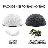 Esponja Konjac Exfoliante Suave Facial Natural, Orgánico, Bio, Ecológico, Vegano, Cuidado de la Piel, Limpieza Profunda, para Piel Propensa a Grasa y Acné - Pack de 4 Esponjas, 2 Blancas y 2 de Carbón