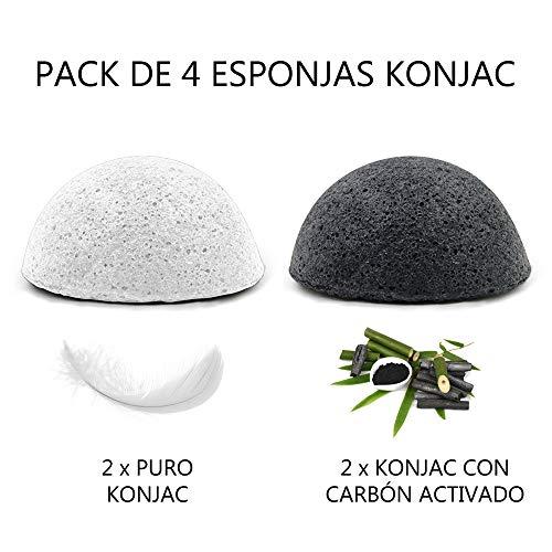Konjac Naturel, BIO, écologique, végétalien, soin de la peau, éponge exfoliante douce pour le visage, nettoyage en profondeur, pour les peaux grasses et sujettes à l'acné - 2 blanches et 2 anthracite