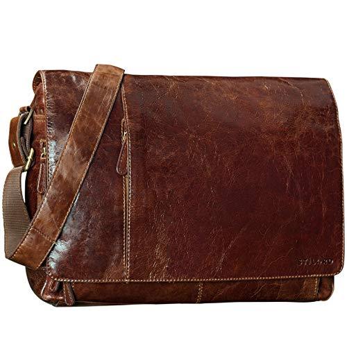 STILORD \'Elias\' Messenger Bag Leder Herren Braun Kuriertasche Umhängetasche Unitasche Laptoptasche 15.6 Zoll Aktentasche Bürotasche Büffel-Leder