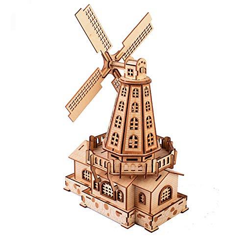 Puzle 3D para Adultos Molinos De Viento Holandeses Maqueta Mecánica De Madera Construcción Rompecabezas para Niños Juguete De Aprendizaje DIY Coche Set De Ensamblaje