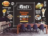写真の壁紙3D壁画レトロな黒板ウエスタンレストランバーガーフライコーヒーショップ背景壁現代のHdポスター大きな壁のステッカーツーリング壁アート装飾壁の装飾-157.5x110.2inch