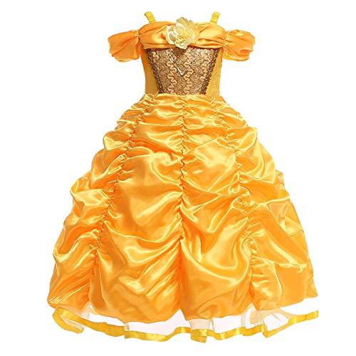 Romon Girls Princesa Vestido Tirantes Palabra Hombro Plisado Vestido Cosplay Disfraces de Navidad de Halloween (3~8 años)