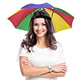 ArtCreativity Umbrella Hats - Pack of 2-20 Inch Hands Free Rainbow Portable Shade for Beach, Pool, Fishing - Beach Party Favors and Novelty Gift - Adjustable Size Fits All Ages Kids, Men and Women