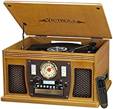 Victrola 8-in-1 Bluetooth Record Player & Multimedia Center, Built-in Stereo Speakers - Turntable, Wireless Music Streaming | Mahogany