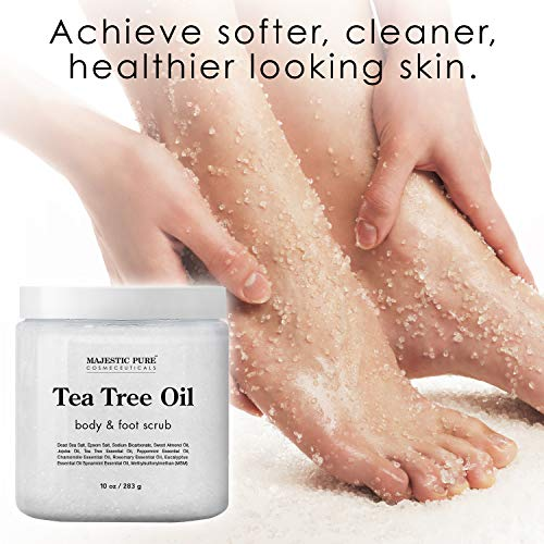 MAJESTIC PURE Tea Tree Body and Foot Scrub - Strong Shield against Fungus - Best Exfoliating Cleanser for Skin - Natural Help Against Acne and Callus - Promotes Healthy Foot - 12 oz