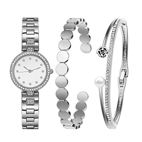 Godagoda da donna con strass rotonda non scala orologio al quarzo braccialetto gioielli set argento Colore bianco